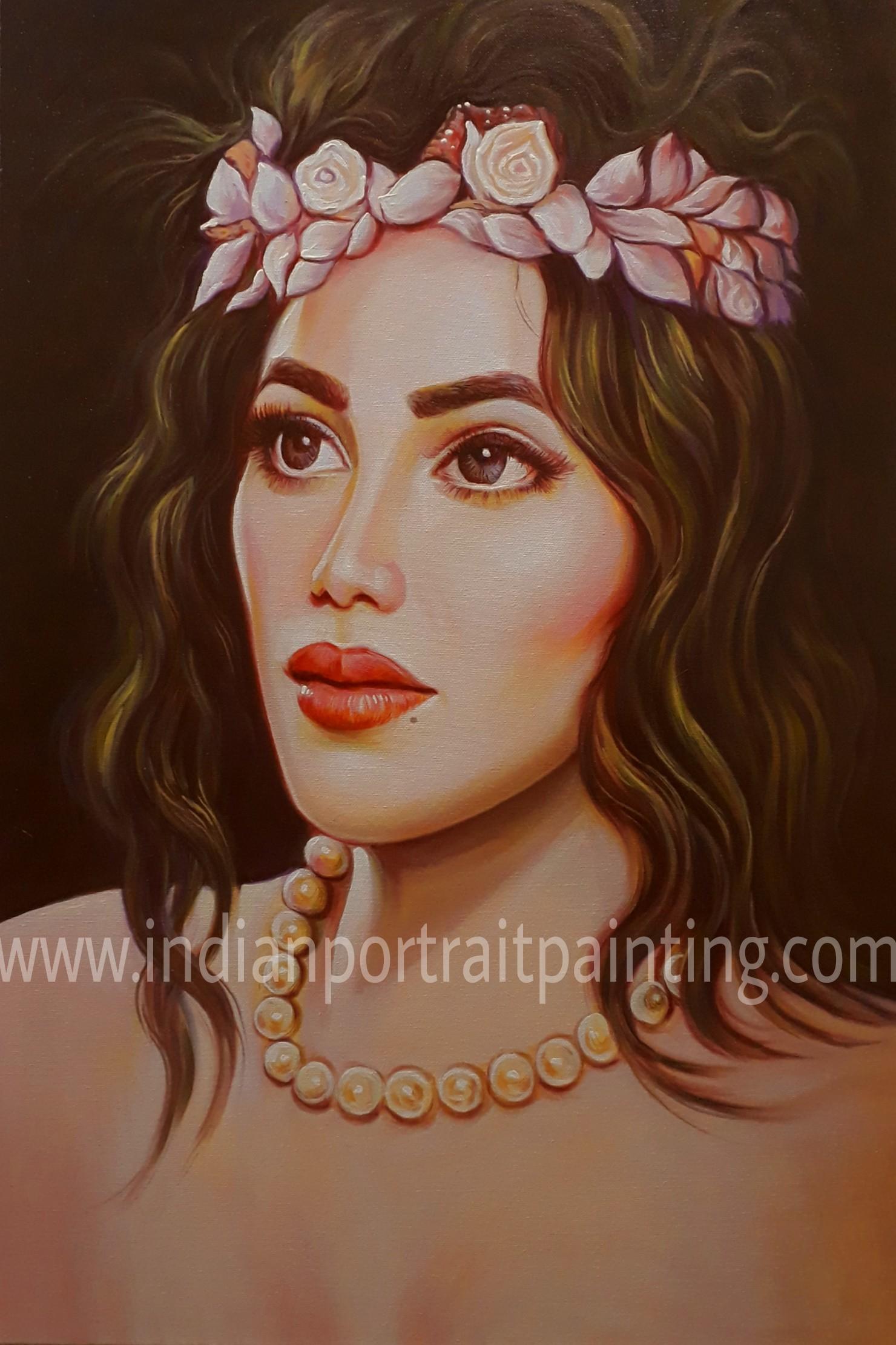 Indian portrait painting watercolour oil canvas portrait