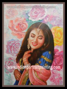 hand painted oil canvas portrait knife painting