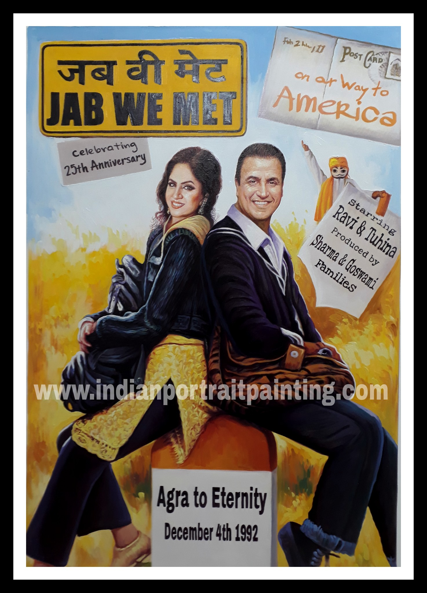 custom bollywood poster maker oil canvas portrait