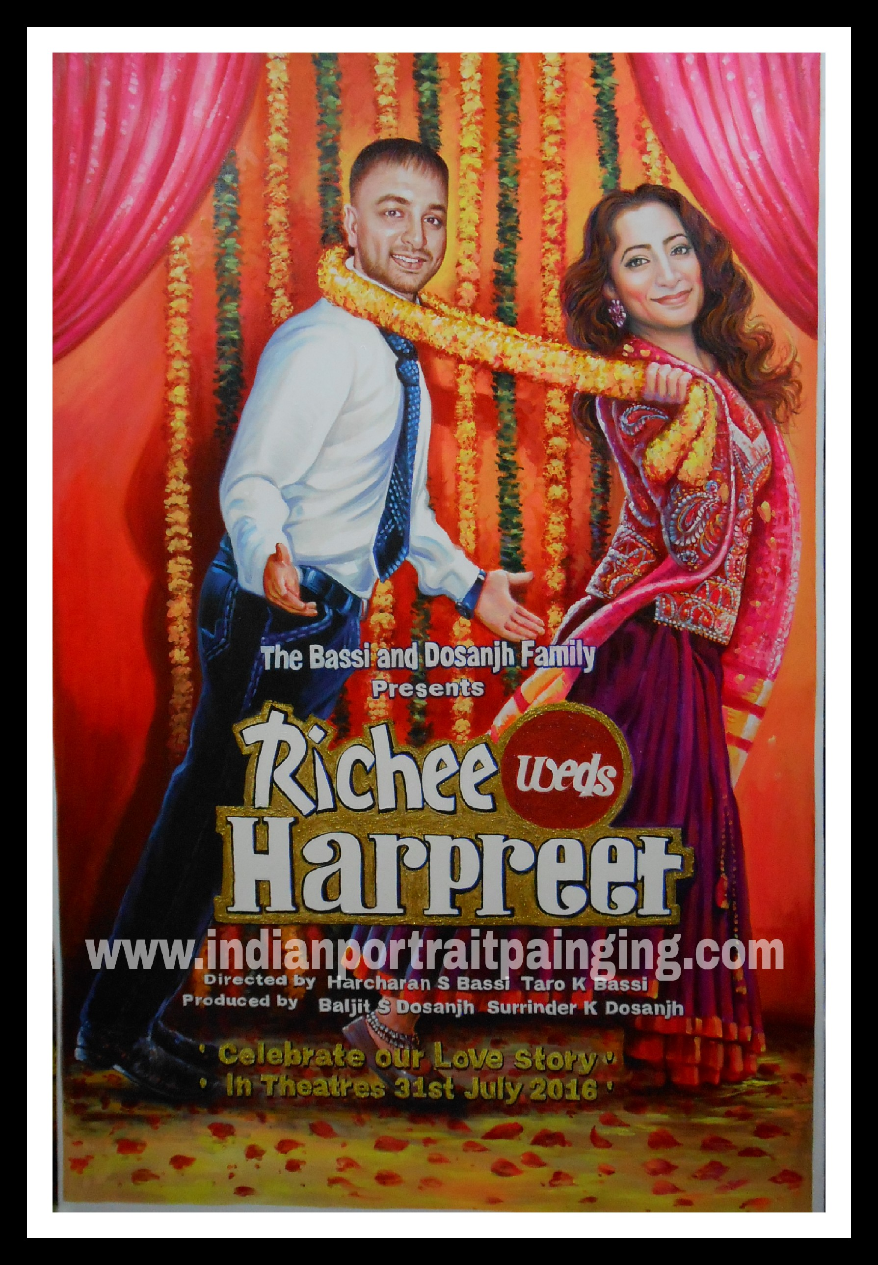 Bollywood themed wedding decor posters – Oil Canvas portrait