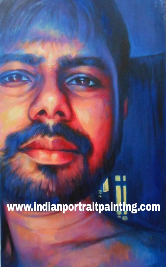 Creative hand painted portrait painting art