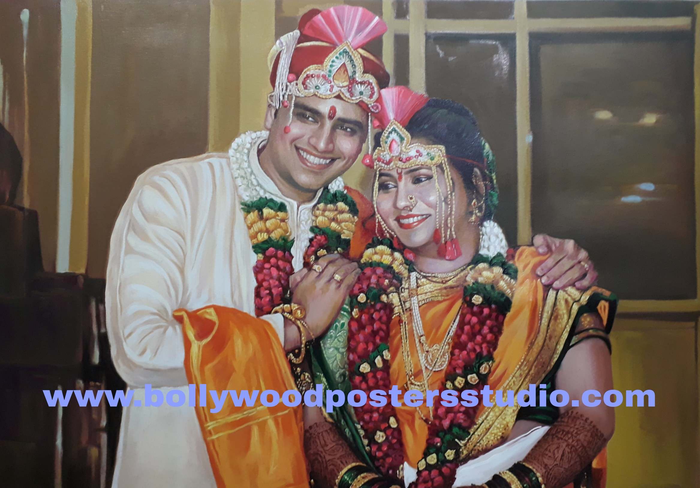 Hand painted wedding portraits on canvas