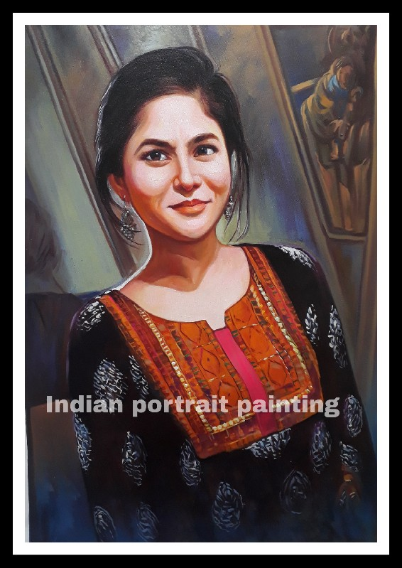 custom portrait painting from photo - gift for sister