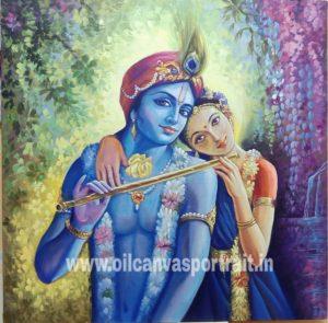 Canvas painting of Radha Krishna