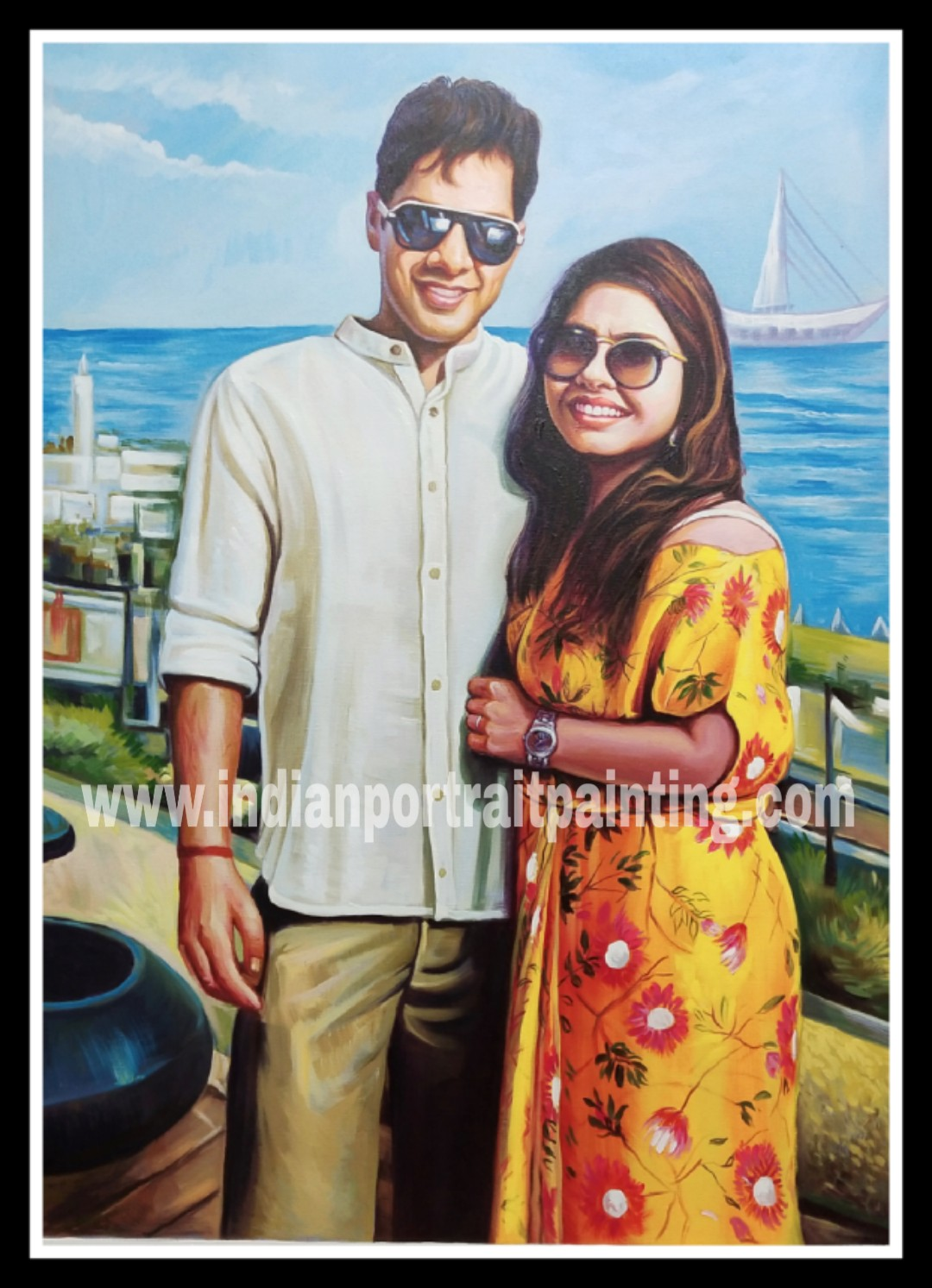 Original custom oil portrait for couples