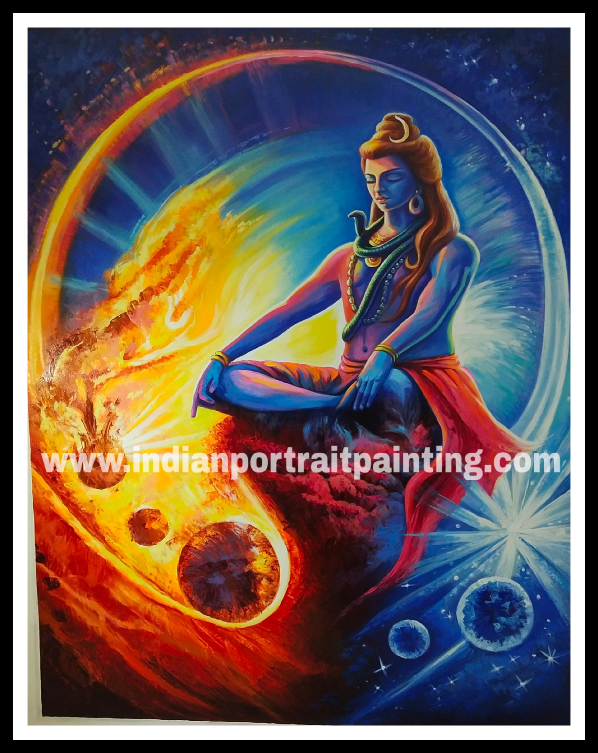 Hand painted Shiva neon oil paint paintings