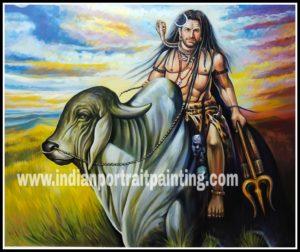 Hand painted canvas Shiva on nandi oil paintings