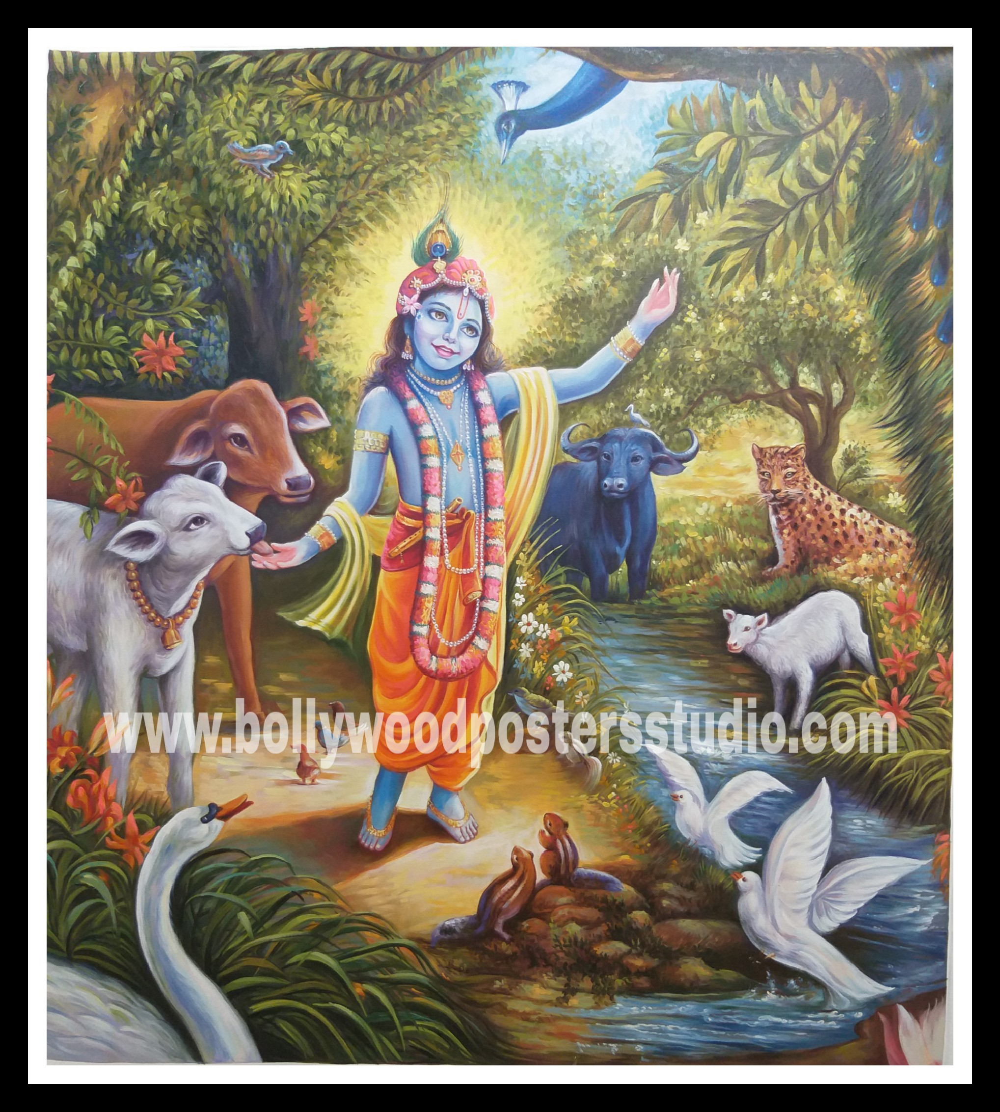 Oil canvas krishna painting