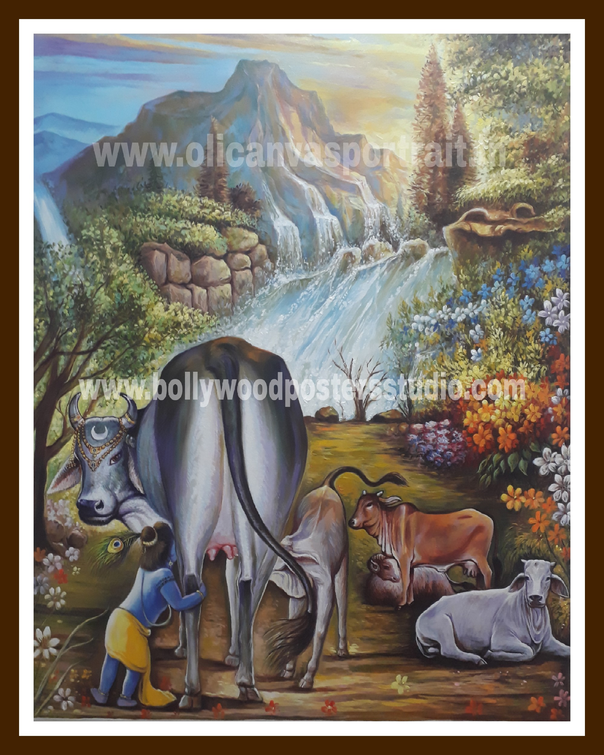 Oil on canvas krishna & gau mata painting