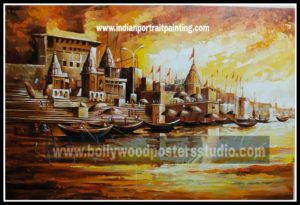 Paintings in oil on canvas - hand painted banaras ghat